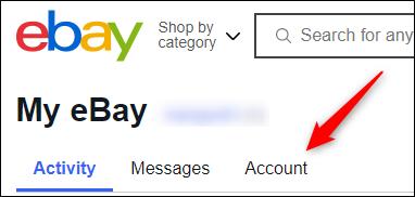 Account tab in my ebay portal