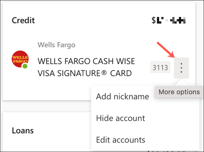 Click More Options to Edit Account