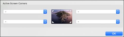 Active screen corners menu