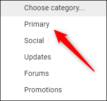 Choose category to place emails