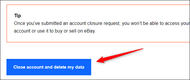 Close account and delete my data button