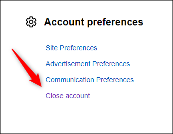 Close account option in account preferences group