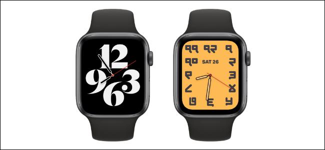 Az egyik alapértelmezett tipográfiai óra arca az egyik Apple Watch-on, a másik testreszabott változata pedig eltérő háttérrel és számokkal.