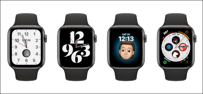 Four different watch faces on Apple Watches.