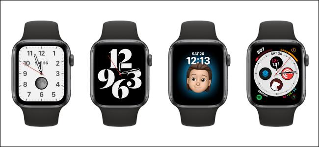 Négy különböző óraszámlap az Apple Watches-on.