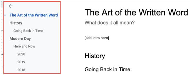 Document Outline in Google Docs