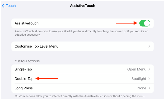 Double Tap Gesture in AssistiveTouch