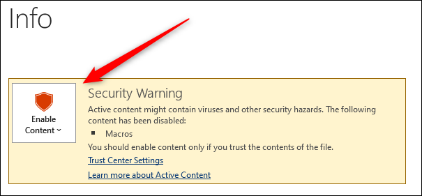 Abilita il contenuto nella sezione degli avvisi di sicurezza