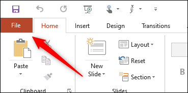 File tab in PowerPoint