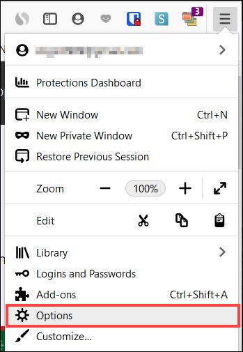 Click Menu, Options on Windows