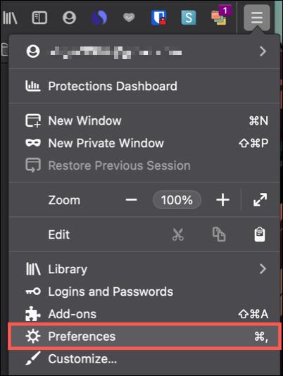 Click Menu, Preferences on Mac