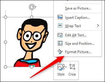 Opzione Formatta immagine nel menu contestuale dell'immagine