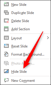 Hide slide option