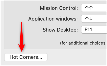 Hot corners button in mission control