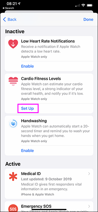 set up cardo fitness levels option in health app