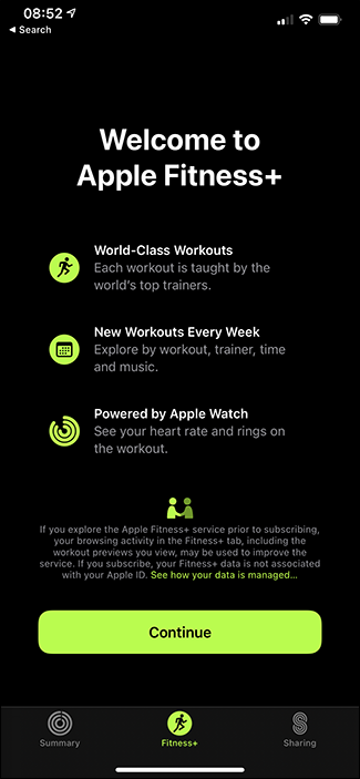 fitness+ sign up screen