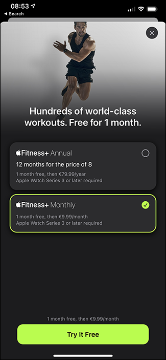 fitness+ subscription screen