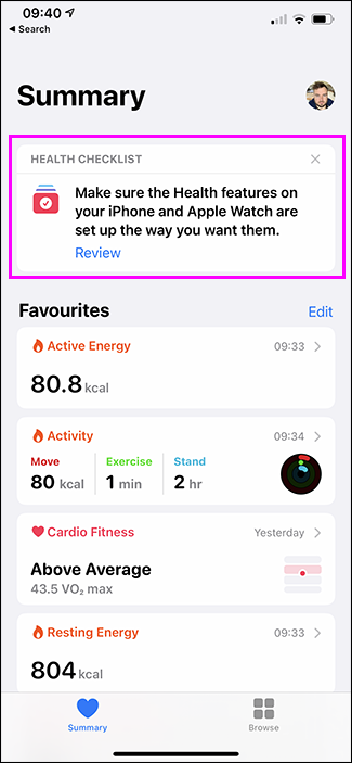 review health option in health app