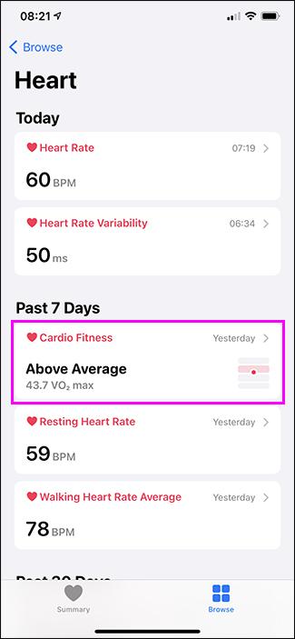 selecting cardio fitness option