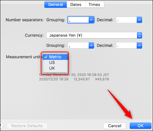 Measurement system options on mac