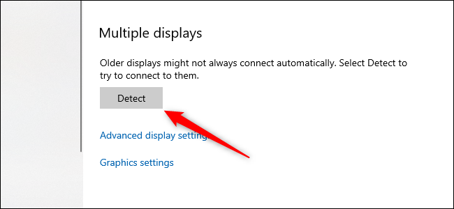 The Windows 10 settings app with the detect multiple displays button visible.