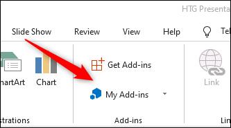 My add-ins button
