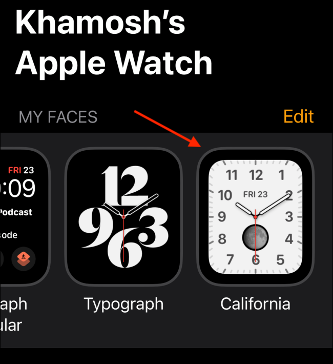 New Watch Face in My Faces Tab in Watch App