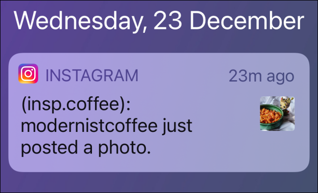 Notification for New Instagram Post on iPhone