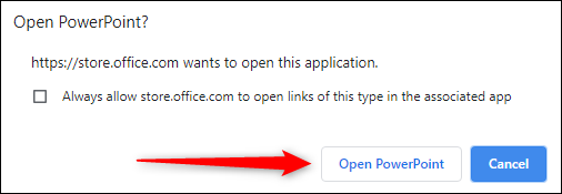 Open PowerPoint button