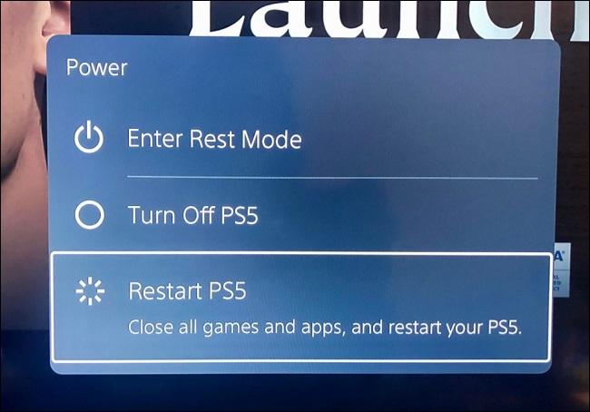 reinicie o ps5 no menu de opções de energia