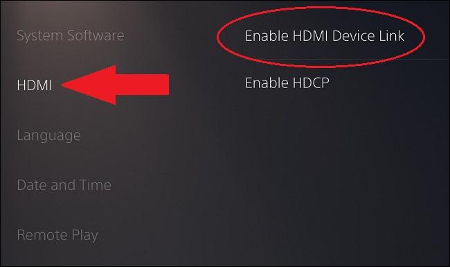 onde encontrar as configurações de link hdmi ps5