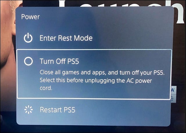 turn off ps5 in the power options menu
