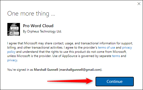 Pop-up message containing privacy and use info
