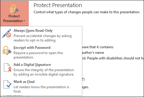 Protect presentation drop-down menu