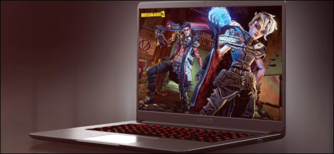A computer rendering of a Ryzen 4000 laptop in purple with a Borderlands 3 background.
