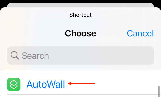 Select AutoWall Shortcut