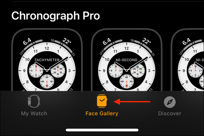 Select Face Gallery Tab from Watch App