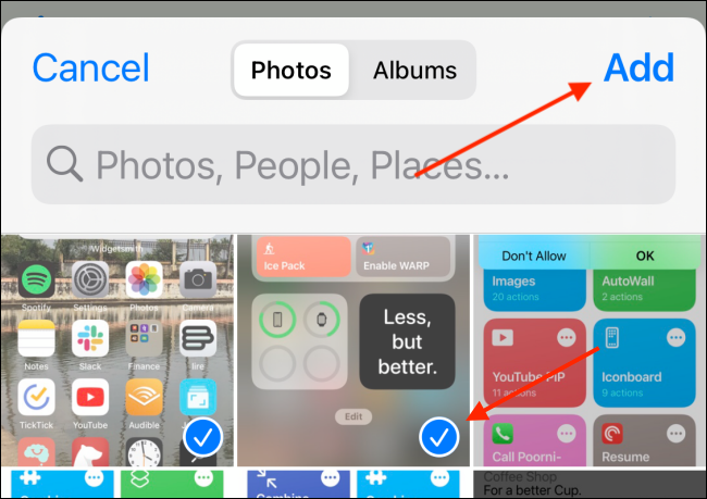 Select Photos and Tap Add