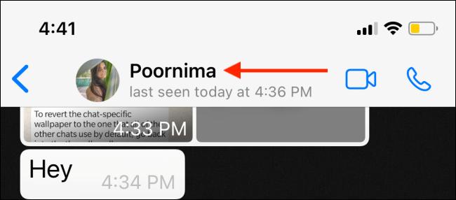 Seleziona il profilo dalla conversazione WhatsApp