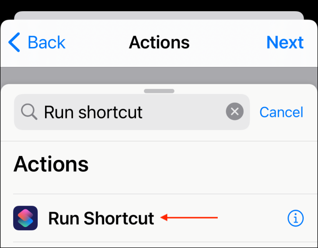 Select Run Shortcut Action