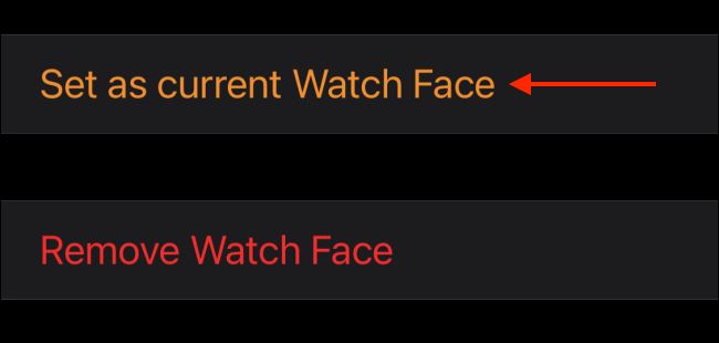 Select Set as Current Watch Face