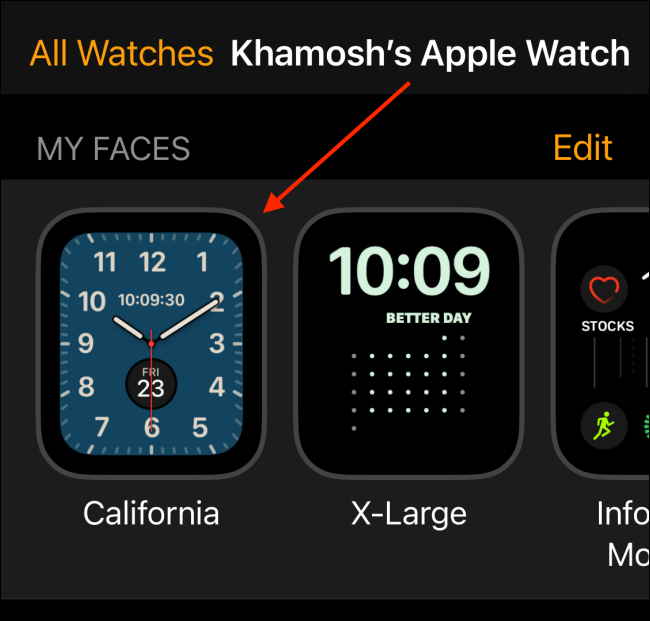 Select Watch Face From My Faces Section in Watch App