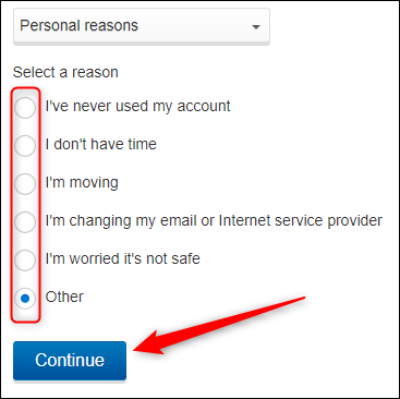 Select a reason and click continue