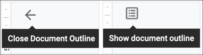 Icons to Show and Hide the Document Outline