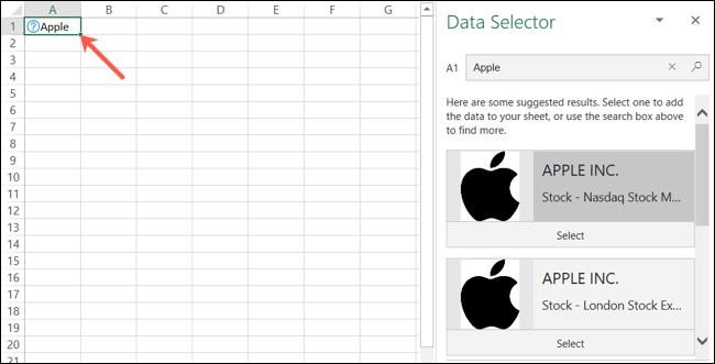 Seletor de dados de ações