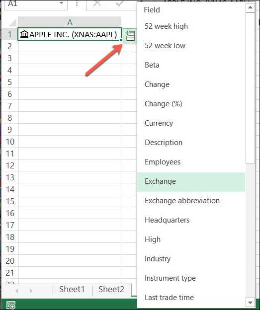 Click Insert Data to View a List