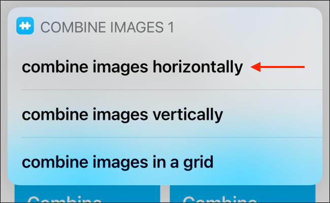 Tap Combine Images Horizontally