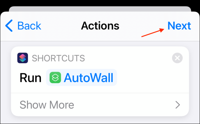 Tap Next After Adding Action