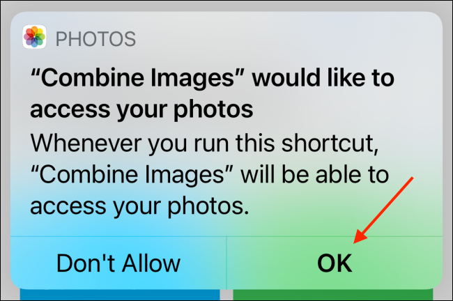 Tap OK to Give Access to Photo Library