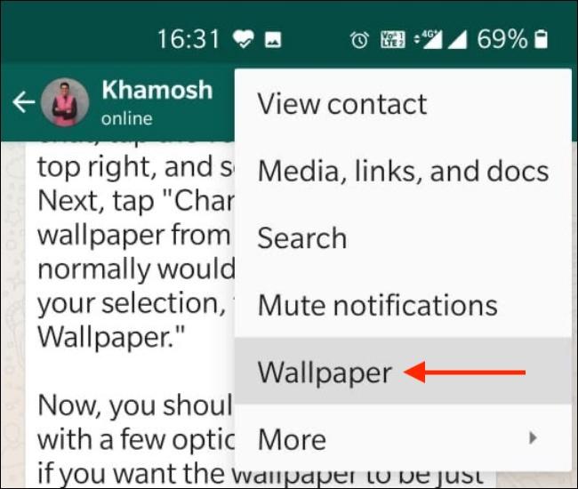 Tocca Sfondo dal menu di WhatsApp